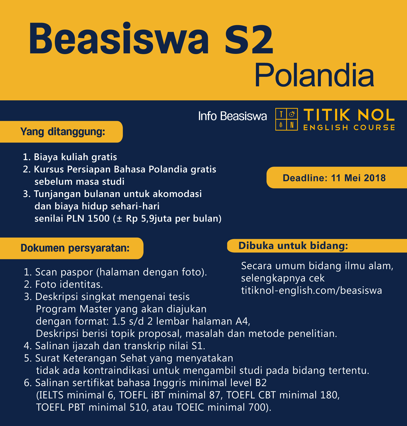 beasiswa s2 Polandia 2018/2019
