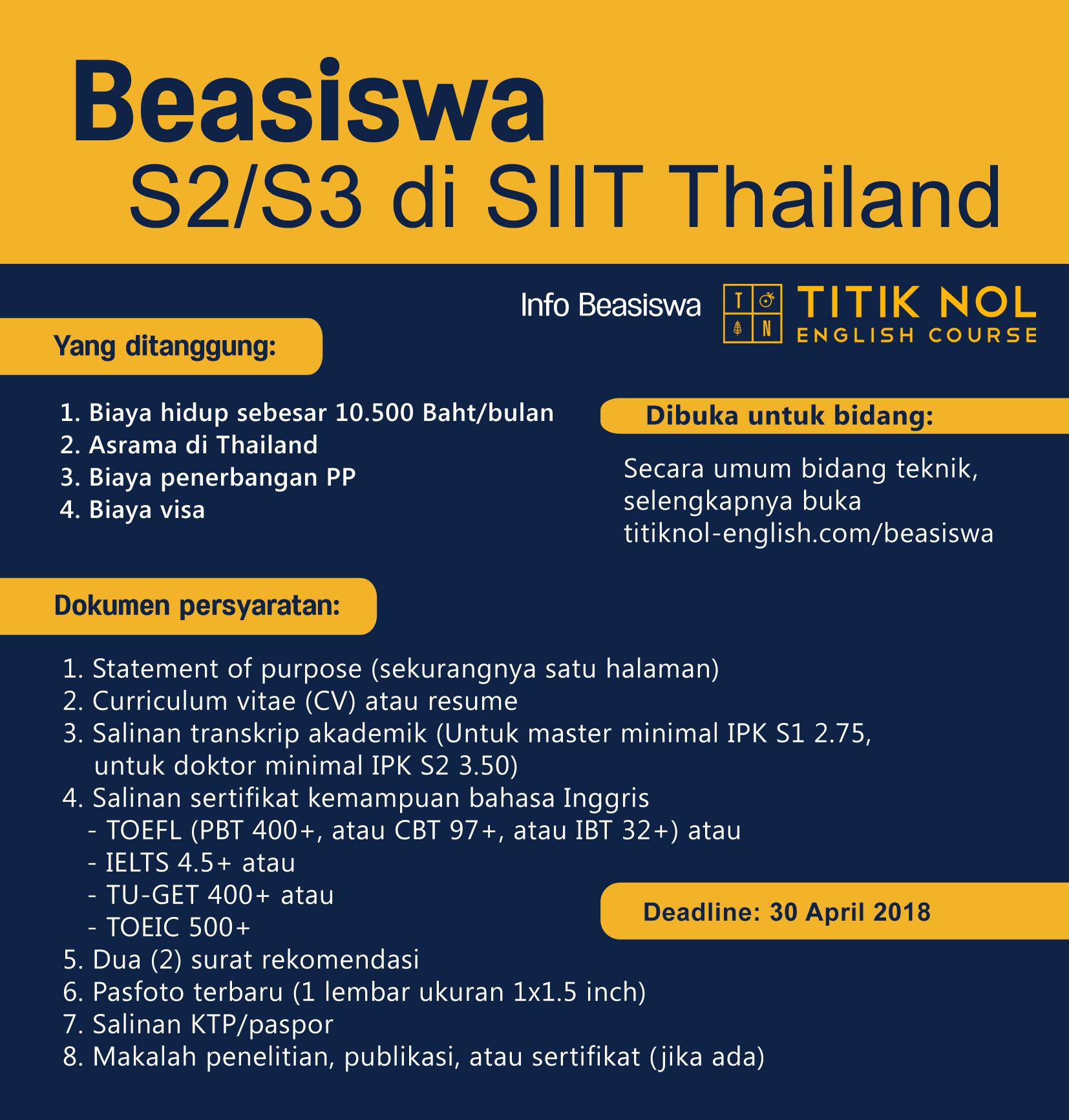 Info beasiswa S2 S3 thailand